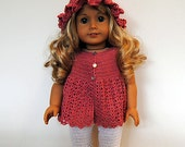 Instant Download - PDF Crochet Pattern - American Girl Doll Clothes 27 - Dress, hat and leggings
