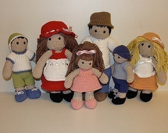 Instant Download - PDF Crochet Pattern - Family Doll and Outfits
