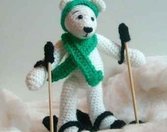 Instant Download - PDF Crochet Pattern - Sking Polar Bear