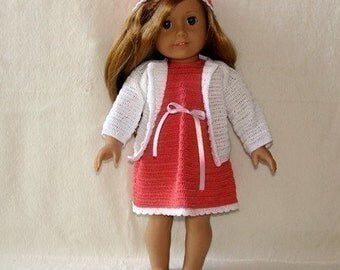 Instant Download - PDF Crochet Pattern -Cardigan, Dress and Hat to American Girl Doll or similar 18 inch Doll