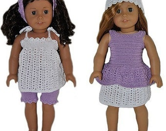 Instant Download - PDF Crochet Pattern - 18 inch AG Doll Spring Outfits 1