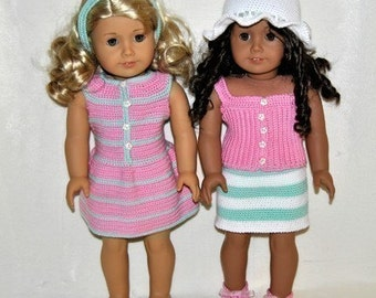 Instant Download - PDF Crochet Pattern - 18 inch AG Doll Summer Outfits 1