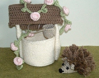 Instant Download - PDF Crocheet Pattern - Hedgehog and Wishing Well