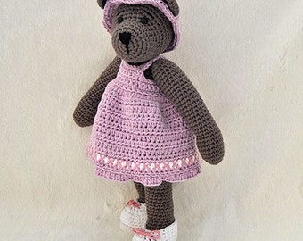 Instant Download - PDF Crochet Pattern - 10 inch Bear and  Outfits 1 - dress, hat and shoes