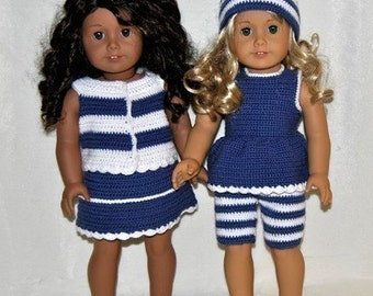 Instant Download - PDF Crochet Pattern - 18 inch AG Doll Summer Outfits 2