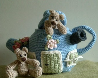 Instant Download - PDF Crochet Pattern - Little Bears and their Teapot House