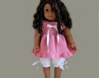 Instant Download - PDF Crochet Pattern -Pyjamas top and Bloomers to American Girl Doll or similar 18 inch Doll