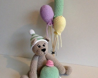 Instant Download - PDF Pattern - Birthday Bear