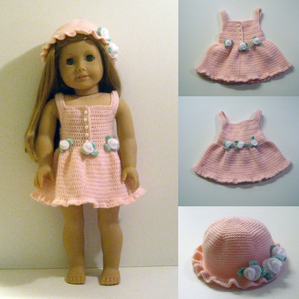Crochet Dress Up Doll Pattern : Instant Download PDF Crochet Pattern Dress and Hat to