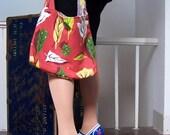 Barkcloth Slouch Bag- Vintage Bark Cloth Shoulder Bag