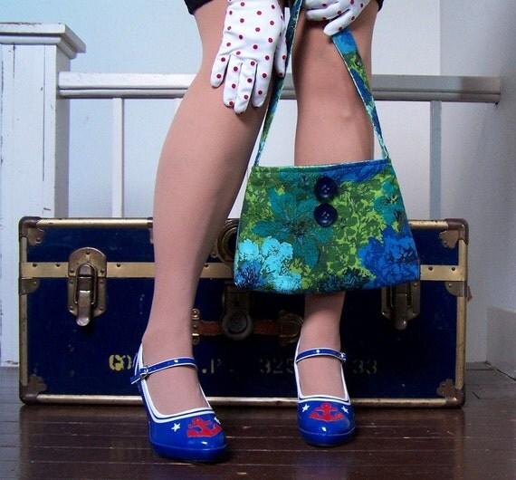 Vintage Barkcloth Purse-Small Blue and Green Fabric Bag