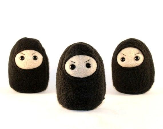 Small Black Ninja Plush, Black Mini Warrior Plushie, MADE TO ORDER