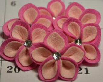 Set of 6pcs handmade felt flower--pink petunia/light pink (FT453)