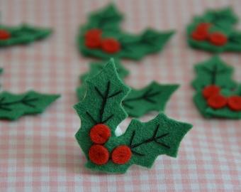 Set of 6pcs handmade felt Christmas Holly (FT914)
