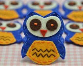 Set of 6pcs handmade felt owl--royal (FT775)