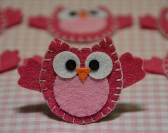 Set of 6pcs handmade felt owl--lipstick (FT890)