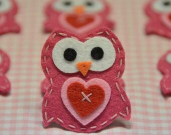 Set of 6pcs handmade felt owl--lipstick (FT922)