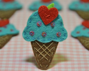 Set of 6pcs handmade felt ice cream--tro. turqoise (FT921)