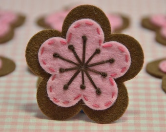 Set of 6pcs handmade felt flower--chocolate (FT923)