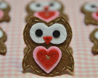 Set of 6pcs handmade felt owl--chocolate (FT922)