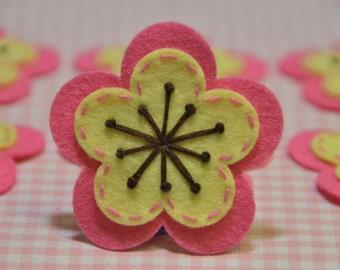Set of 6pcs handmade felt flower--dark canation/yellow (FT923)