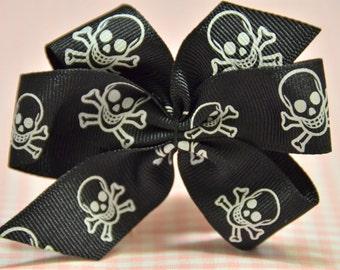 Set of 4pcs handmade Grosgrain Bow--Skull (GR1006)