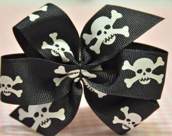 Set of 4pcs handmade Grosgrain Bow--Skull (GR1008)