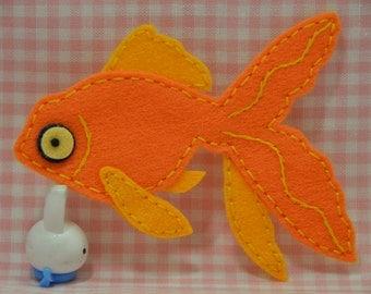 Set of 2pcs handmade felt Goldfish--marigold (FT342)