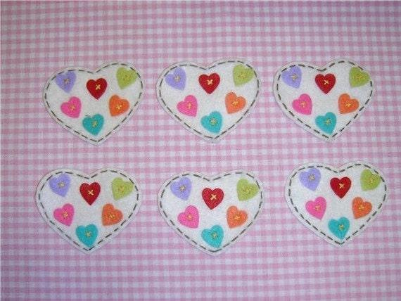Set of 6pcs handmade felt heart---ivory (FT820)