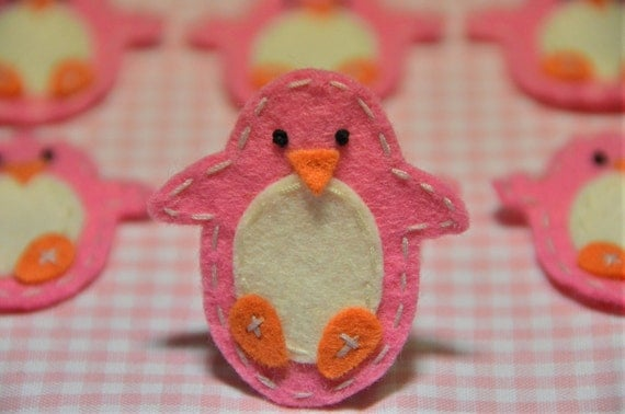 Set of 6pcs handmade felt penguin--dark canation (FT847)