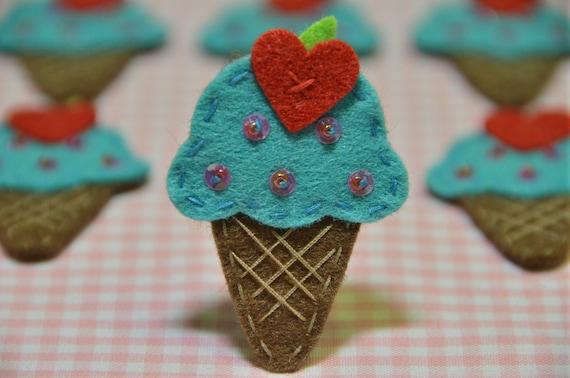 Set of 6pcs handmade felt ice cream--tro. turqoise (FT921)