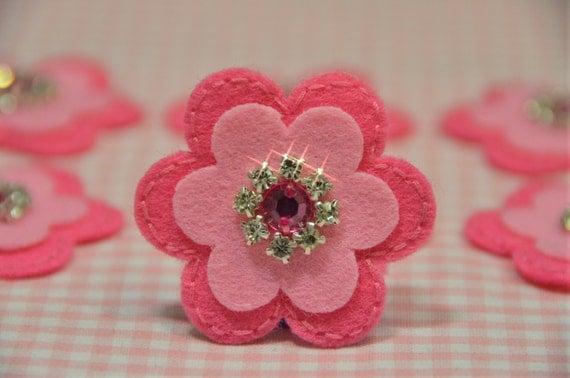 Set of 6pcs handmade felt flower--dark canation/baby pink (FT746)