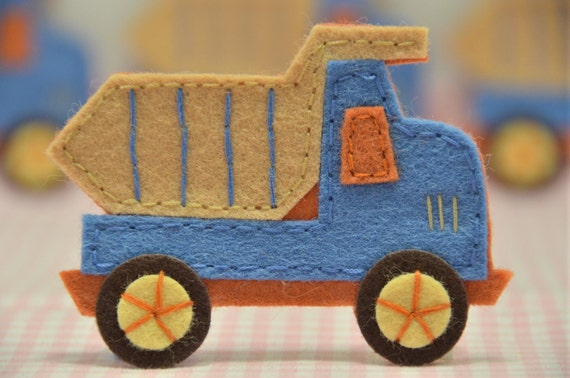 Set of 4pcs handmade felt truck--anti blue (FT732)