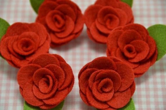 Set of 6pcs felt flower--devil red (FT937)