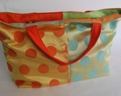 Large Overnight Tote ... Magnetic Closure ... Sturdy Handles ... Polka Dots and Stripes