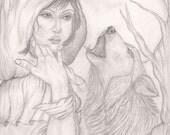 SALE Little Red Original 11x14 drawing by Trisha Leigh Shufelt