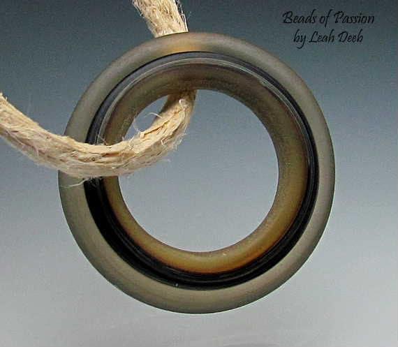 Handmade Glass Bead Focal Ring Lampwork - 1 Beyond Cool Slider Focal  - XXtra Lg