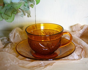 Vintage Amber Desert Gold Sandwich Glass Cup and Saucer Antique Tea Cup and Saucer