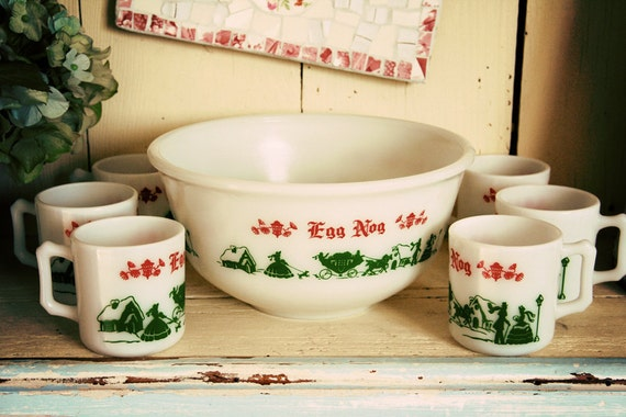 Hazel Atlas Egg Nog Punch Bowl Set With Six Cups