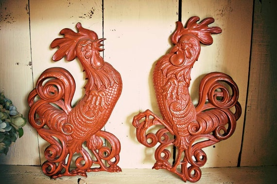 Two Vintage Metal Fighting Roosters Sexton Wall Hanging