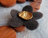 Fleur d'ambre (amber flower) necklace - chocolate felt flower, golden hammered button, amber, bayong wood, copper