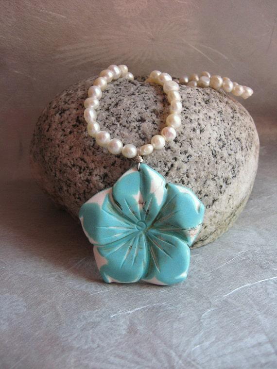Fleur du Pacifique (Pacific flower) necklace - turquoise carved flower, freshwater pearls