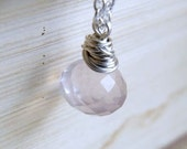 AAA Rose Quartz Gemstone Sterling Pendant Necklace GN4