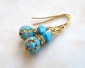 Swarovski Earrings Turquoise Blue Ball Gold Dangle BEGoldS2