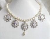 Bridal Necklace Ivory Swarovski Pearl Cubic Zirconia Silver Necklace BN4