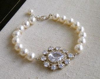 Pear Cubic Zirconia Swarovski Ivory Pearl Bracelet BB2 Wedding Jewelry
