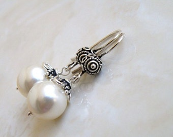 Bridal Earrings Swarovski Ivory Pearl Bali Sterling Silver BE14