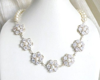 Bridal Necklace Swarovski Ivory Pearl CZ Sterling Silver Necklace GN1