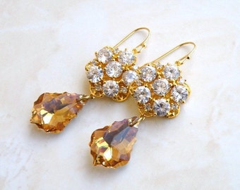 Bridal Earrings Swarovski Teardrop CZ Gold Filled Chandelier AE2G