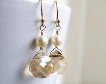 Swarovski Crystal Earrings Champagne Briolette Gold BE11